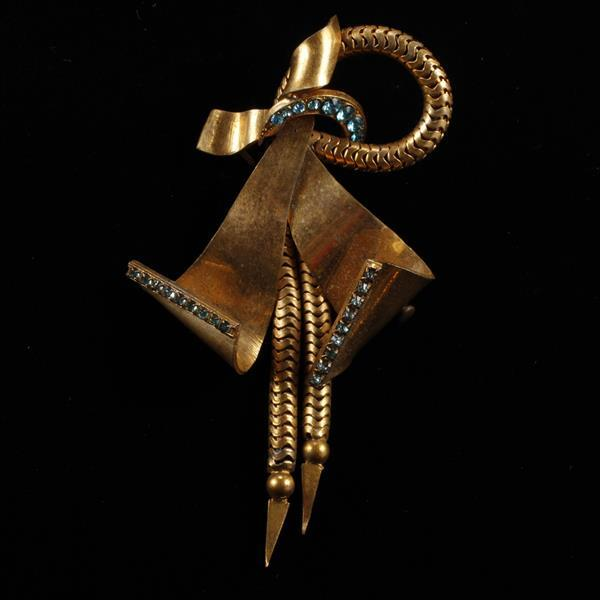 Art Deco Made in France Jeweled and Gilt bow brooch.