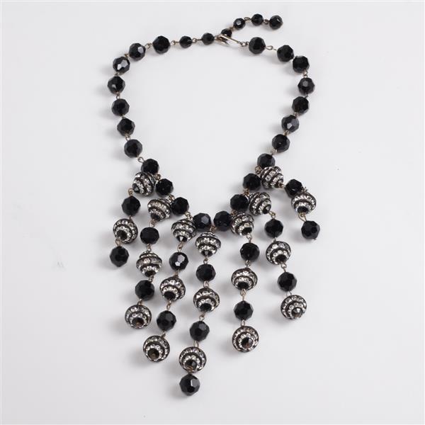 Art Deco Ball Fringe Bib Necklace with Czech glass beads & rhinestones