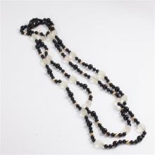 Black & Frosted Glass Art Deco Double Strand Necklace with Czech glass jet beads with carved clasp.