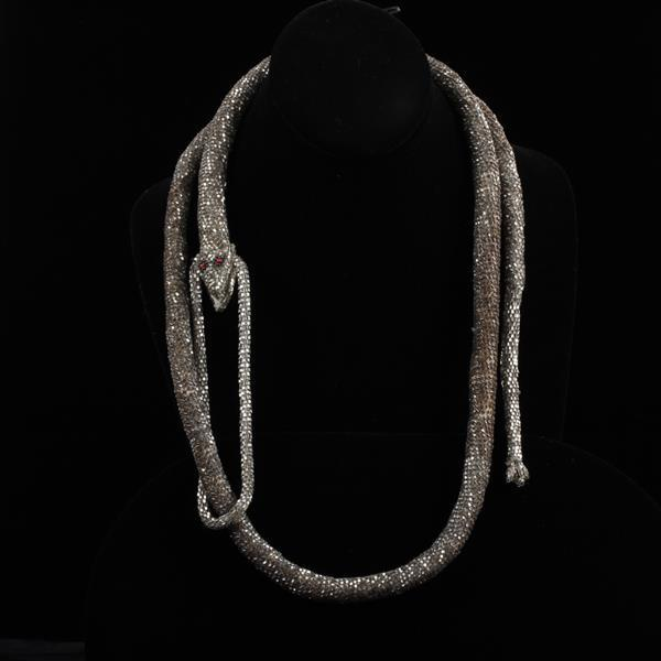 Art Deco Glass Beaded Snake / Serpent Wrap Lariat Necklace.