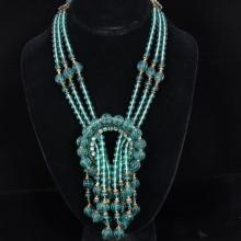 Art Deco Sautoir Loop & Tassle Necklace; Multi-strand French Poured Green Glass Bead Necklace, manner of Louis Rousselet.