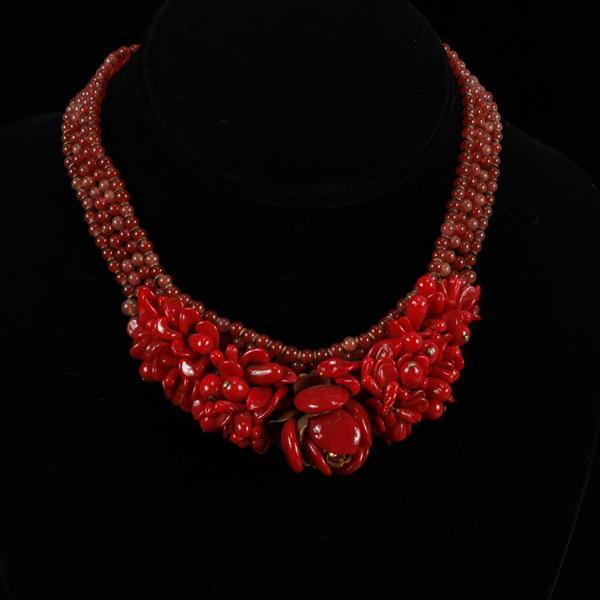 Attributed to Louis Rousellet Made in France Red Beaded Floral Necklace