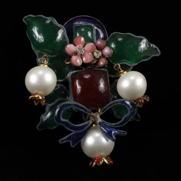 Maison Gripoix French poured glass and enamel floral bow brooch with rhinestones and baroque pearls; possibly for Chanel.