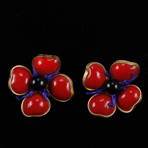 Jean Patou French Designer Couture poured glass flower earrings.