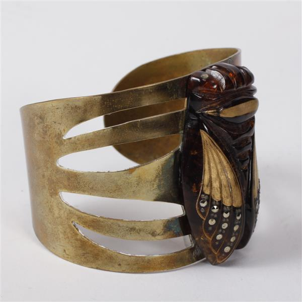 French Art Deco Brass Cuff Bracelet with applied studded & gilt bakelite cicada insect.