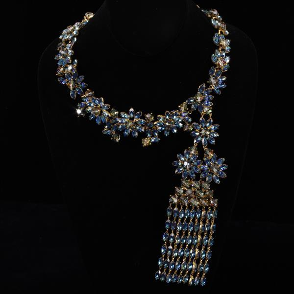 French Haute Couture Vintage Runway Crystal Necklace marked Made in France, manner of Roger Jean Pierre, Dior, Jean-Louis Scherrer