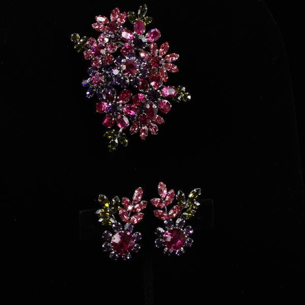 Austrian Rhinestone Flower Cluster Brooch Pin & Clip Earrings