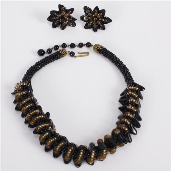 Art Deco Black Beaded Necklace & Flower Clip Earrings marked West Germany.
