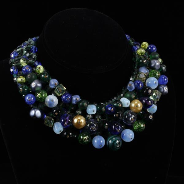 Western Germany Blue & Green Beaded Collar Necklace