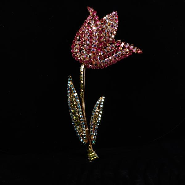 GIANT Austrian diamante crystal Tulip Flower Brooch Pin