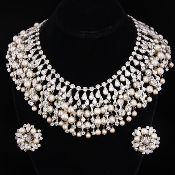 Austrian Crystal Diamante & Pearl Fringe Bib Necklace & Cluster Clip Earrings.