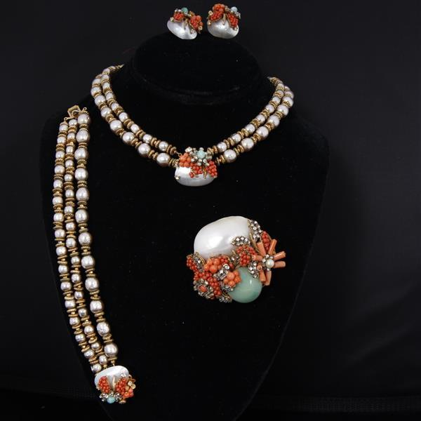 Miriam Haskell 4pc. Coral Pearl and Shell Parure; necklace, bracelet, brooch pin, & clip earrings.