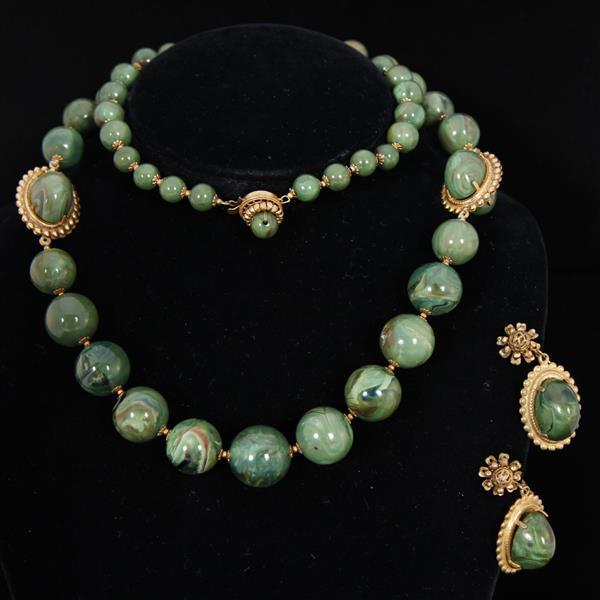 Miriam Haskell 2pc. Set; Green Glass Beaded Necklace & Clip Earrings