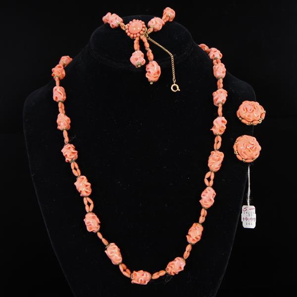 Miriam Haskell Coral Glass Beaded 3pc. Demi Parure; Necklace, Bracelet, & Clip Earrings