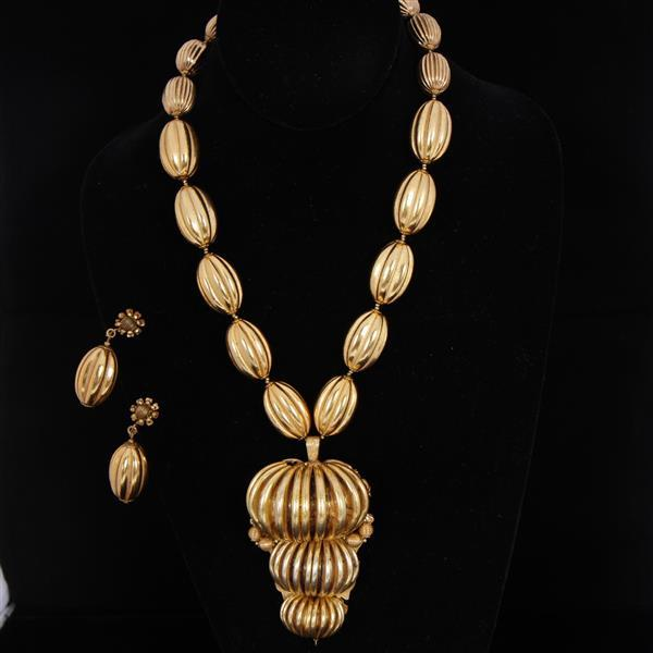 Miriam Haskell 2pc. Set; Gold Tone Necklace & Clip Earrings