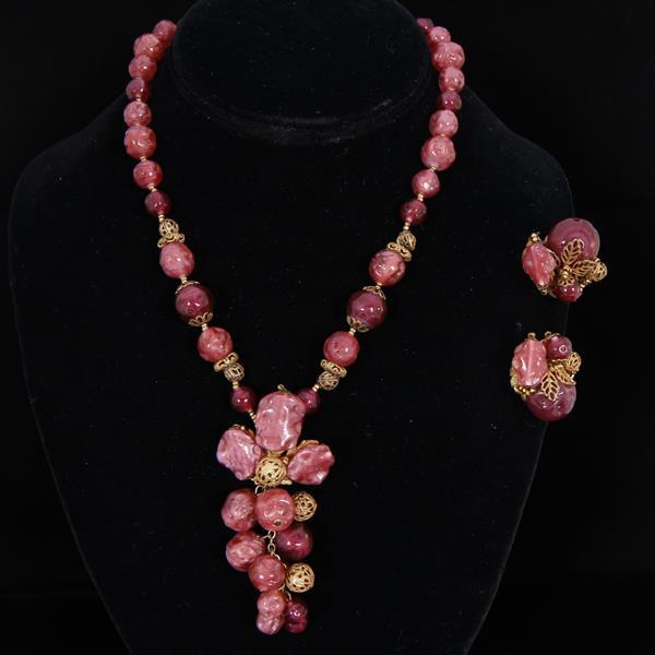 Miriam Haskell Pink Glass Cluster Beaded 2pc. Set; Necklace & Clip Earrings