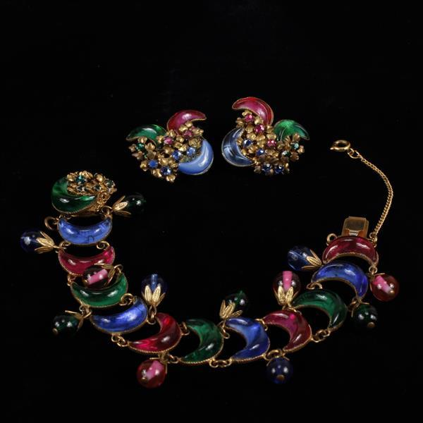 Miriam Haskell 2pc. French Poured Glass Bracelet & Clip Earrings