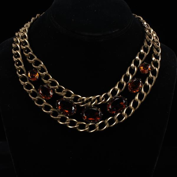 Joseff of Hollywood Chain Necklace with Amber Colored Jewels