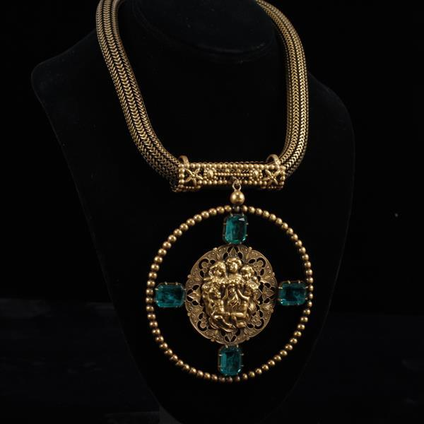 Joseff of Hollywood Gold Tone Necklace with Figural pendant