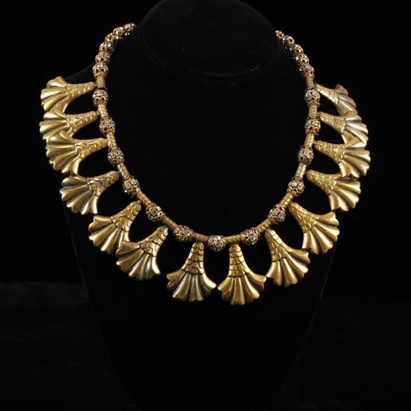 Art Deco Egyptian Collar Joseff of Hollywood Gold Tone Necklace