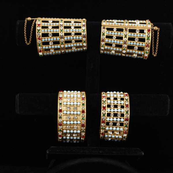 Two Pair jeweled Egyptian cuffs; Vintage Stage or Film Costume Jewelry / Hollywood Regency, ca. 1930s.