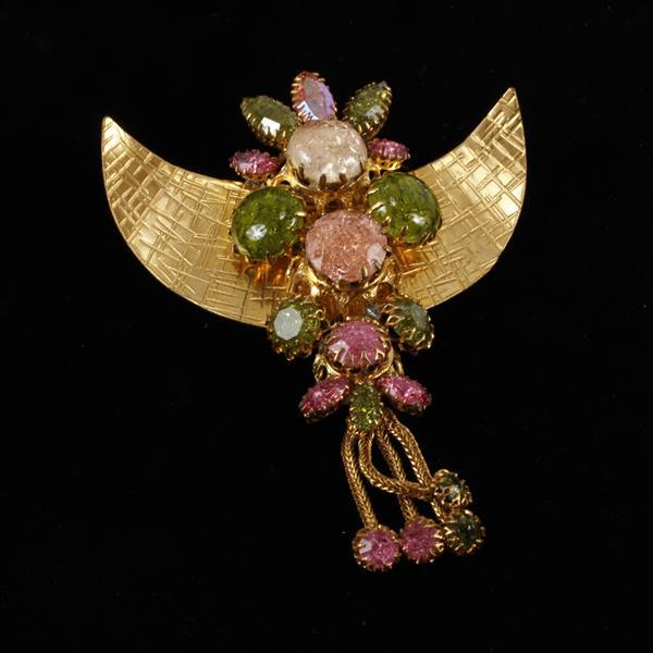 Countess Cissy Zoltowska, CIS Haute Couture Jeweled Egyptian Style Brooch Pin