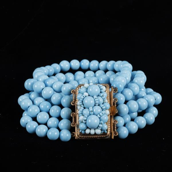 Vintage Couture Coppola E Toppo Blue Turquoise Beaded Multi-strand bracelet