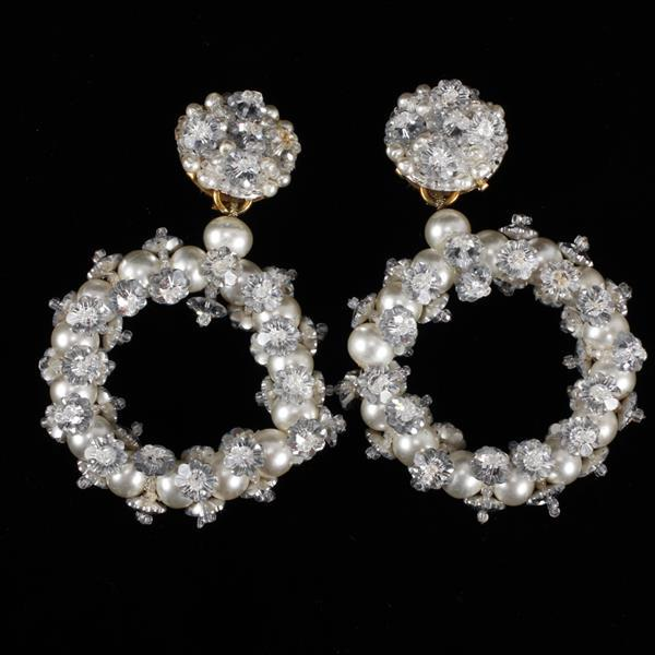 Vintage Couture Coppola E Toppo Bead & Faux Pearl Clip Earrings