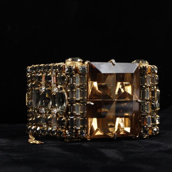 Vintage Designer Runway Hinged Cuff Bracelet with Giant Crystal Invisible Set Jewels.