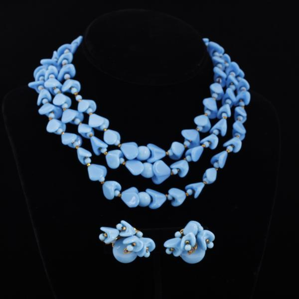 Miriam Haskell 2pc. Multi-strand Blue Necklace & Clip Earrings