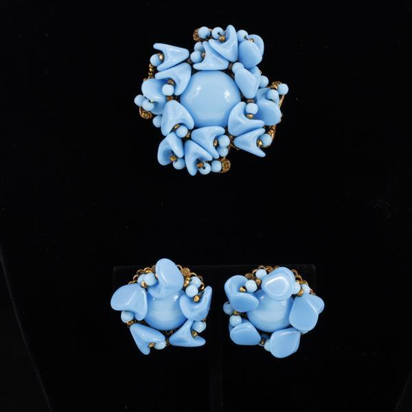Miriam Haskell 2pc. Turquoise Glass Cluster Beaded Brooch & Clip Earrings