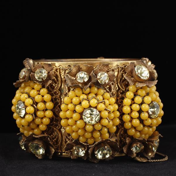 Miriam Haskell Wide Floral Hinged Cuff Bracelet with yellow glass beaded flowers containing rose monte centers.