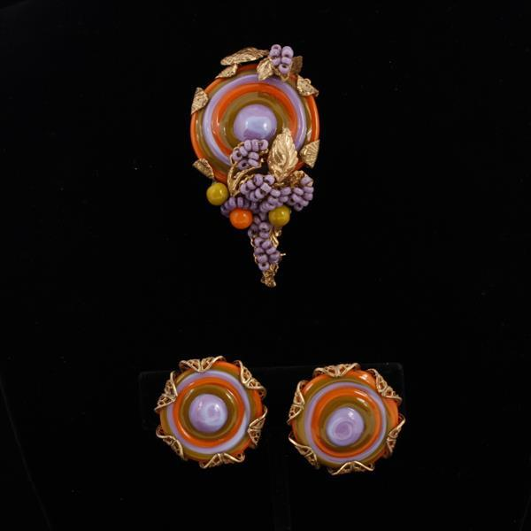 Miriam Haskell 2pc. Brooch & Clip Earrings with swirled purple green and orange glass discs and beaded grape cluster on pin.
