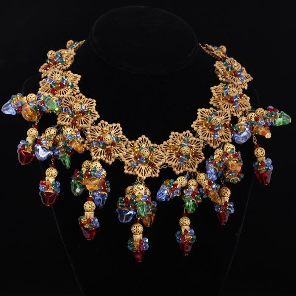Miriam Haskell Necklace Poured glass fringe bib brass filigree necklace; with multi glass jewels on brass filigree.