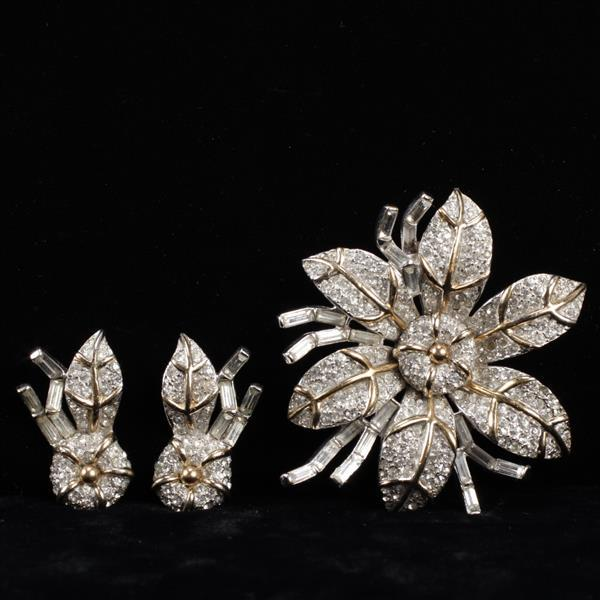 Halbe gold tone pave 2pc. set; flower brooch pin and earrings.
