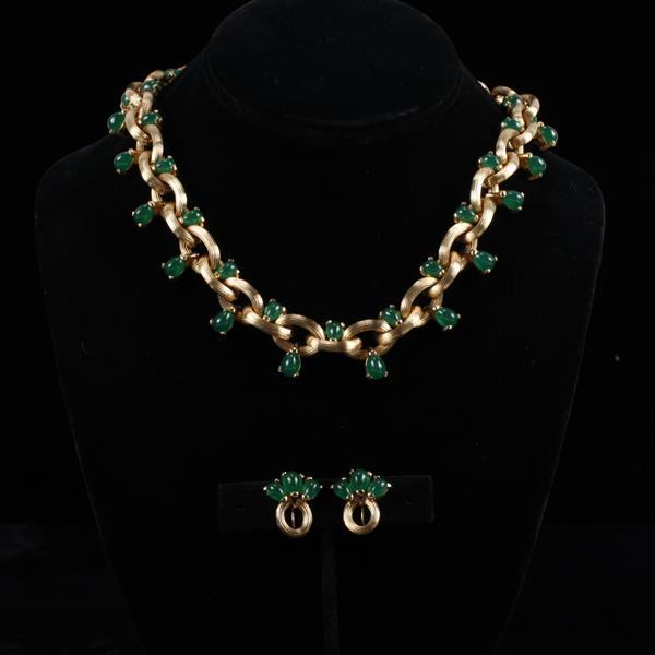 Boucher 2pc. Gold tone & jade glass necklace & clip earrings