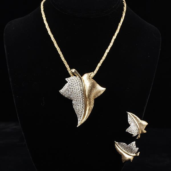 Nettie Rosenstein Pave gold tone leaf 2pc. set; necklace and earrings.