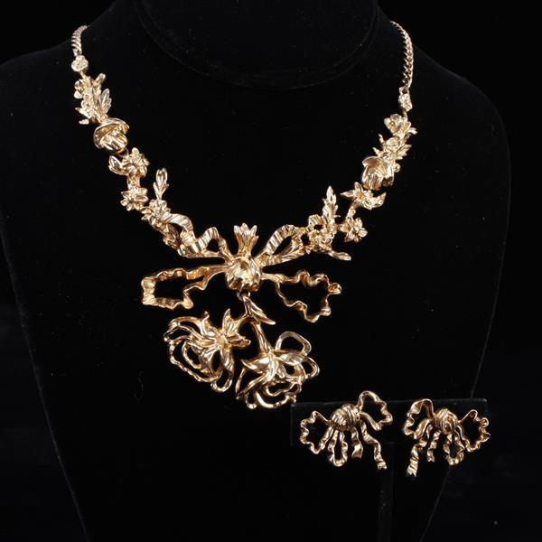 Nettie Rosenstein Sterling Silver Vermeil Set; open floral bouquet with bow necklace and earrings.