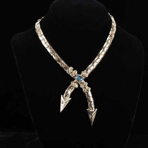Kafin New York 1930s Art Deco crossed arrows with blue jewel gilt necklace