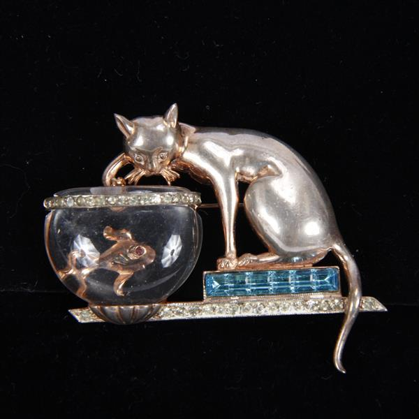Anthony Aquilino' Anthony Sterling Cat Fishing in Jelly Belly Fish Bowl Pin Brooch, 1948. With Invisibly Set blue stones.