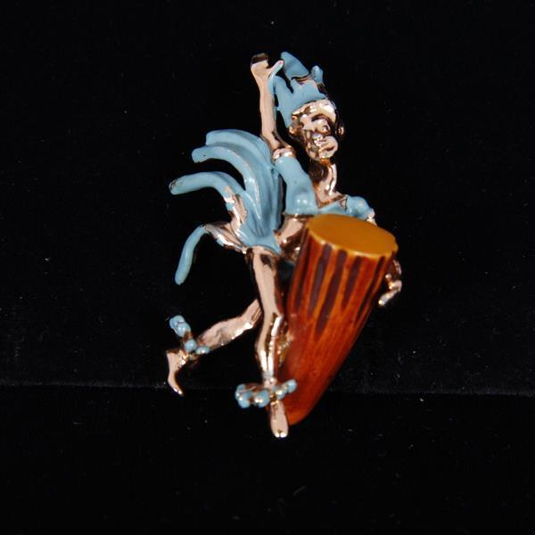 Charles F. Worth Enamel Sprite Dancer with Bakelite Drum Figural Brooch Pin