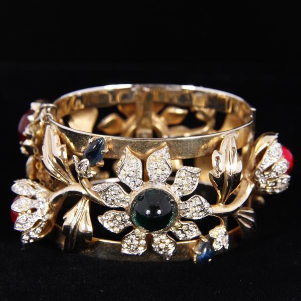 Coro Carmen Miranda Floral Jewel & Enamel Hinged Cuff Bracelet; multi jelly cabs and pave rhinestones.