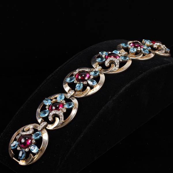 Mazer Sterling Silver Vermeil Scrolling Floral Bracelet with jelly cabochon jewels.