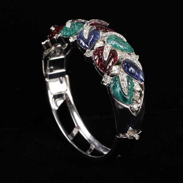 Joseph Mazer Pave & Molded Glass Leaf Jewels Bracelet