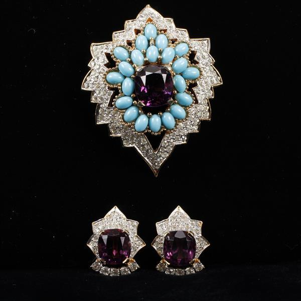 Jomaz 2pc. Set; Pave Brooch & Clip Earrings with large amethyst color crystal jewels and turquoise glass cabochons.