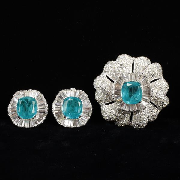 Jomaz 2pc. set; Pave Brooch Pin & Clip Earrings with Emerald gripoix jewels and diamante baguettes.