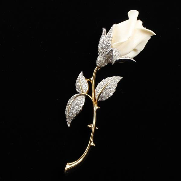 Jomaz rose flower brooch pin with pave leaves.