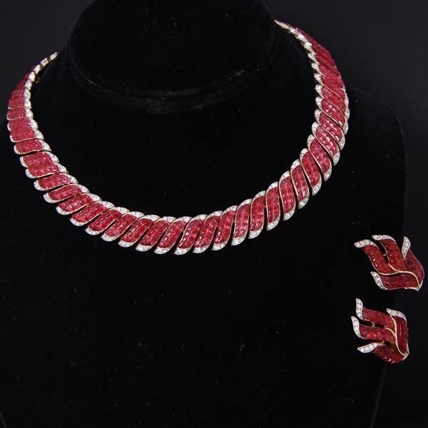 Trifari Alfred Philippe 2pc. SET; Ruby Red Invisible Set stones choker necklace and earrings set.