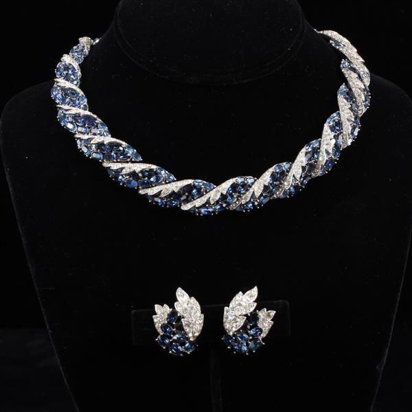 Trifari 2pc. Demi Parure; rhodium plated pave and sapphire diamante Necklace & Clip Earrings
