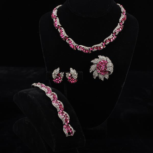 Trifari 4pc Fuchsia Diamante Parure; Necklace, Bracelet, Brooch, & Clip Earrings